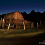 I used my large spotlight to illuminate the barn from off-camera left. This shot was taken about one hour after final sunset, so with a long exposure of 30 seconds, some light shows up on the horizon. The blueness of the night sky shows gives it the blue glow.