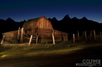 Light Painting the Mormon Row Barn near Jackson, Wyoming