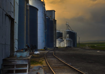 """Post Production Magic"" in Camera Raw on the old graineries in Rexburg, Idaho"