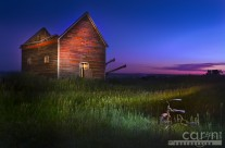 Light Painting the Roofless Barn, Trike and Tractor