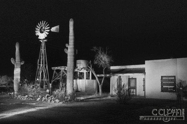 Caryn Esplin - Windmill Black and White - Light Painting