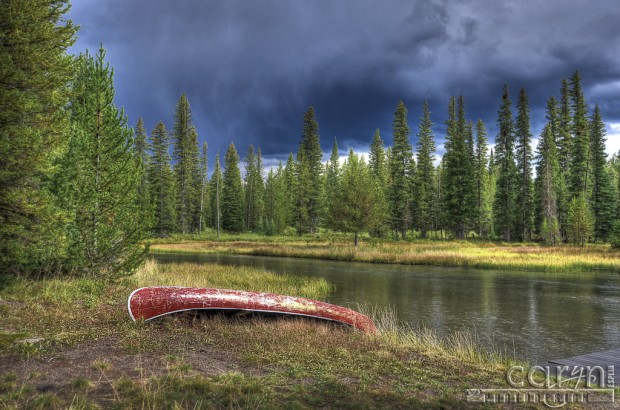 Caryn Esplin - Red Canoe on the Buffalo River - Island Park, Idaho
