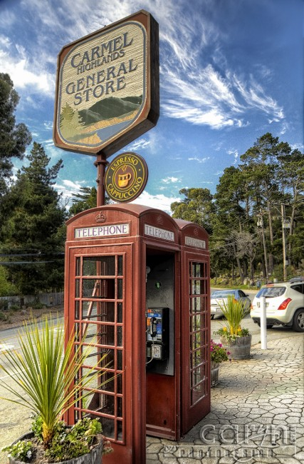 Old Red English-style Telephone Booth - Carmel Highlands General Store - Carmel, CA - Hwy 1 - Caryn Esplin