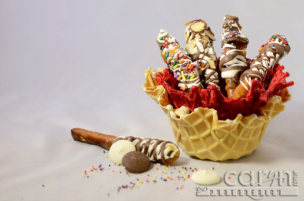Caramel Pretzel Logs - Red Background - Lightbox -  Caryn Esplin