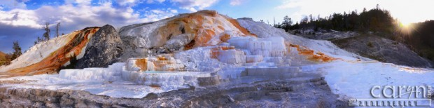Caryn Esplin - Light Painting - Mammoth Hot Springs - Nikon D600 - Yellowstone - Panoramic - Panorama