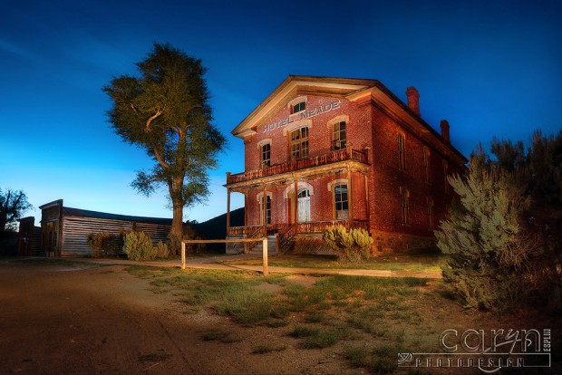 Light Painting of Hotel Meade during Blue Hour Bannack Ghost Town, Montana- Caryn Esplin