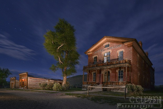 Light Painting of Hotel Meade in Bannack Ghost Town, Montana