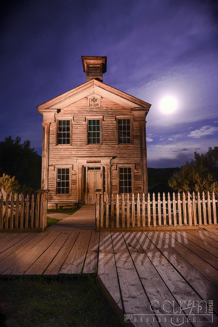Bannack School - Masonic Temple - Moonrise - Caryn Esplin