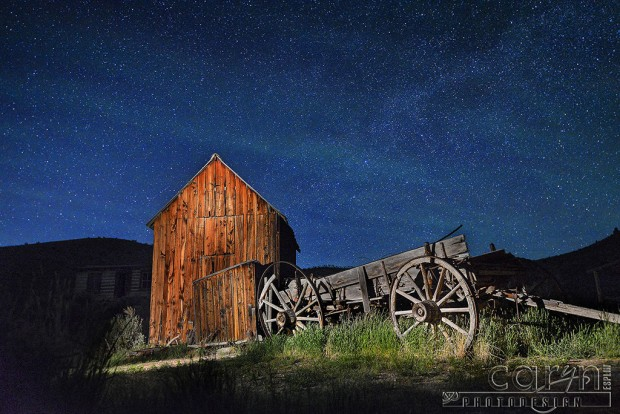 Starry night in June - Barn and wagon - Bannack Ghost Town, Montana - Caryn Esplin