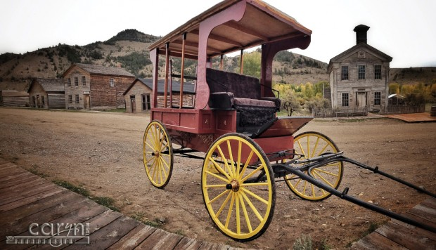 Bannack Ghost Town, Montana - Living History - Red Buggy - Pano