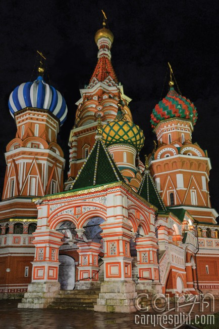 Moscow, Russia, night photography, St. Basil's Cathedral, onion domes, spires, cupola