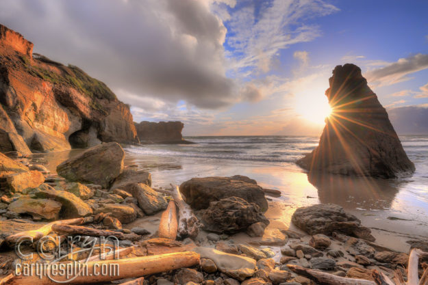 CarynEsplin-OregonCoastBeach-SunFlare-Landscape-FineArtPhotography-Sunset-Beach