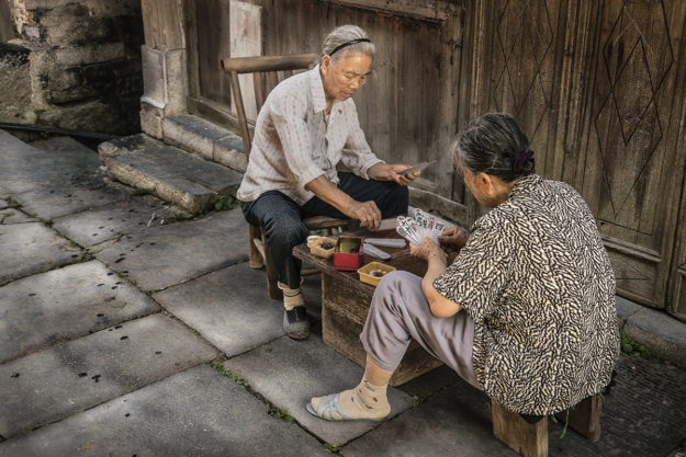 Guilin, China, Daxu Ancient Town, Faces and Places of China, Game, Playing Mahjong, Travel, Street Photography