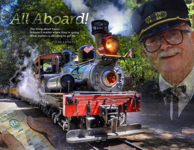 Roaring Camp Railroad - Photo Montage - Felton CA - Santa Cruz CA - Caryn Esplin - Redwoods - Steam Engine - Old Train